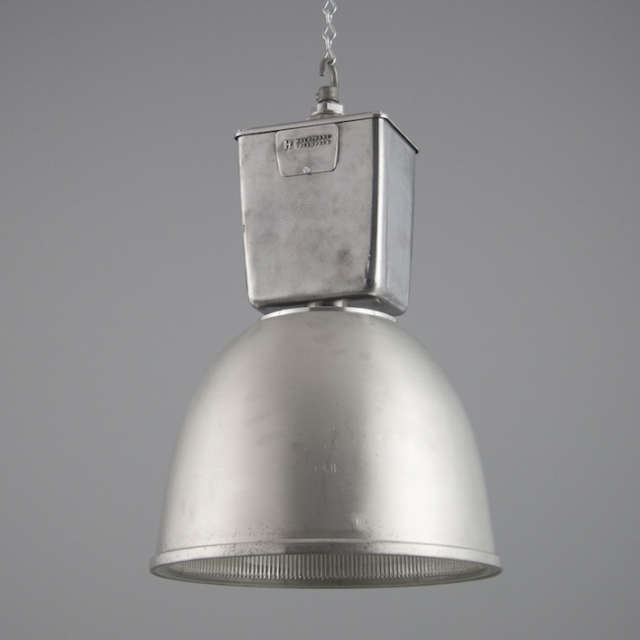 Vintage industrial Holophane pendant lights