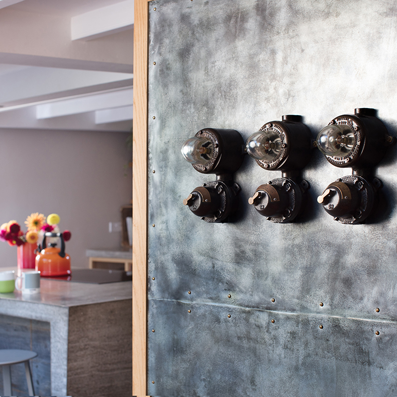 At home with Chris and Sophie wall lights