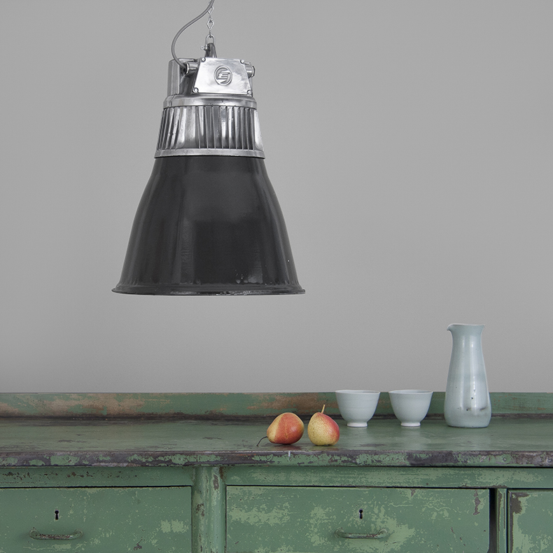 Polished aluminium and black enamel industrial light