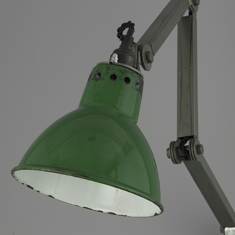 Vintage industrial green machinists wall light
