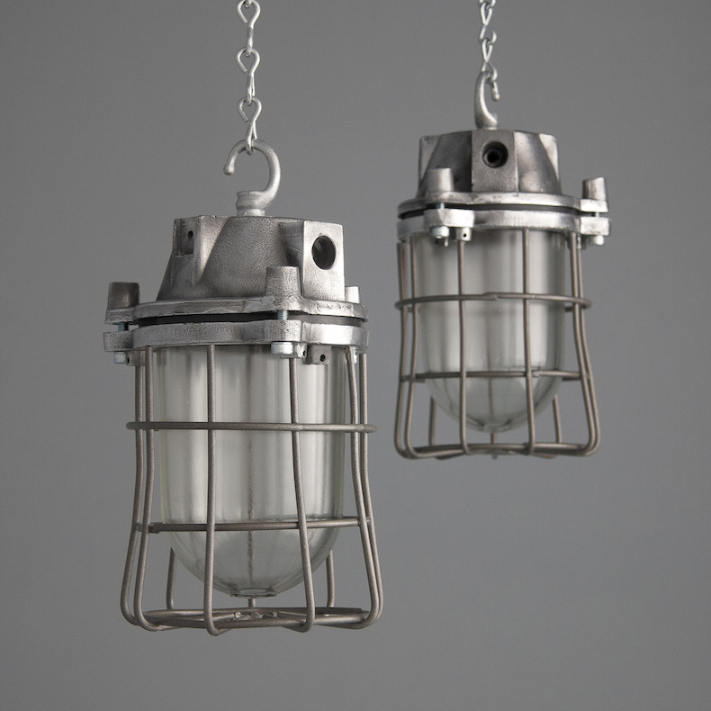 Reclaimed Eastern Bloc caged pendant lights