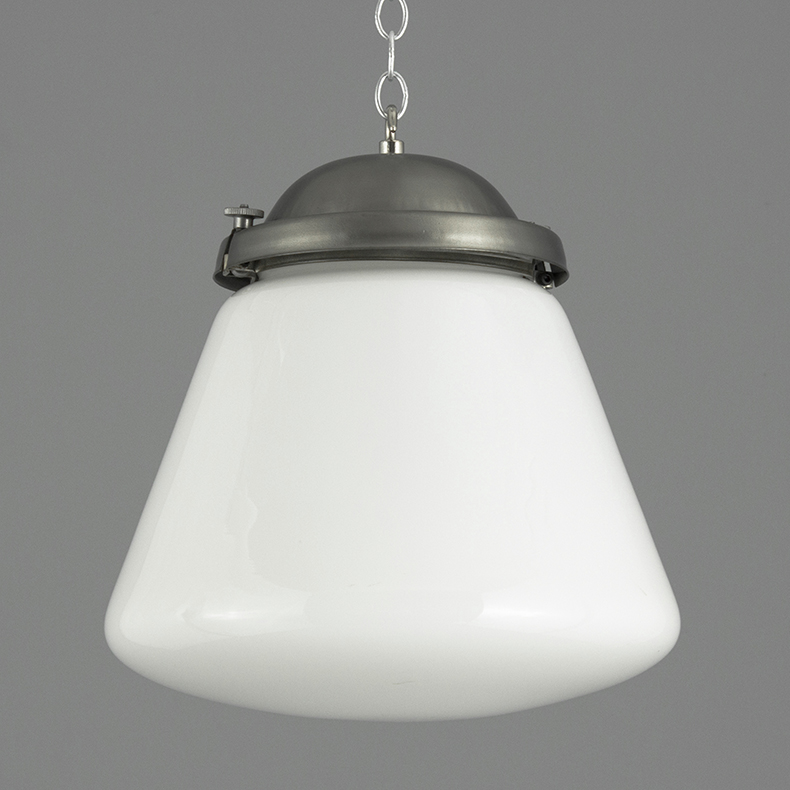 Industrial steel and opaline pendant lights