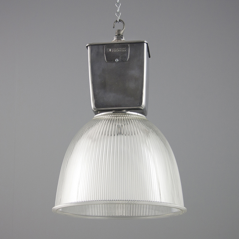 Vintage prismatic Holophane pendant lights