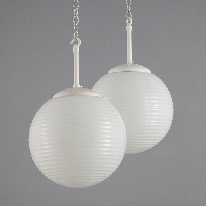 vintage ribbed opaline 1960s pendant lights