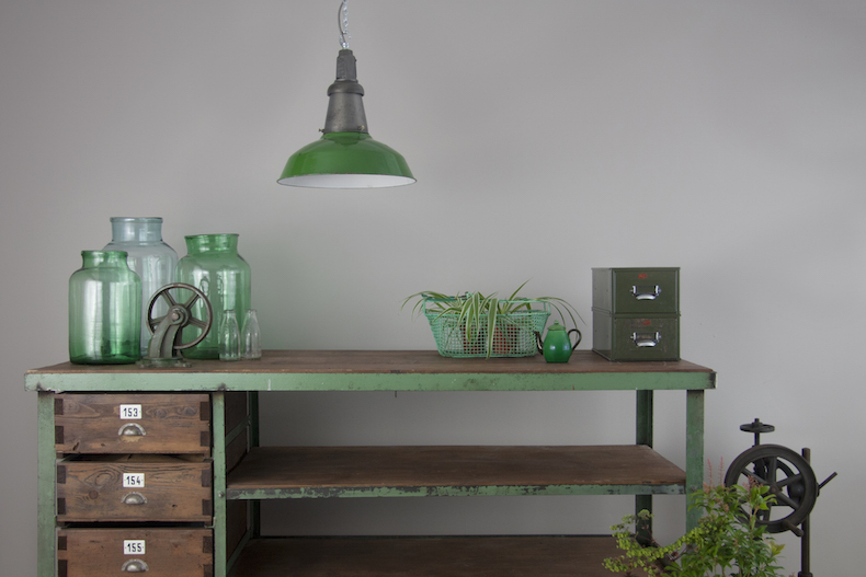 Industrial green enamel pendant light by Wardle