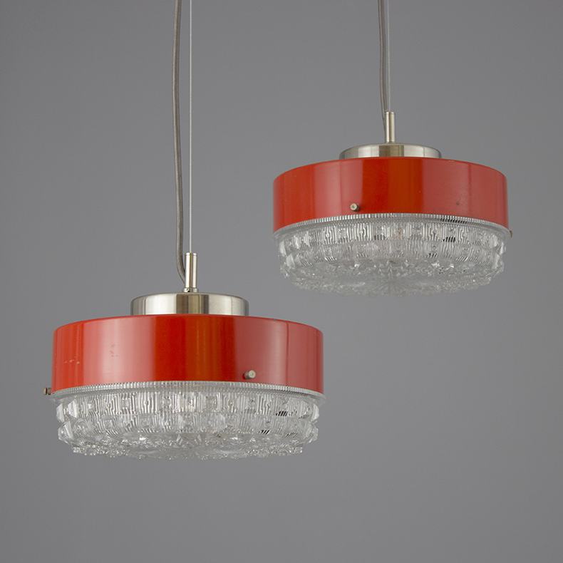Retro 1970s glass pendant lights in red