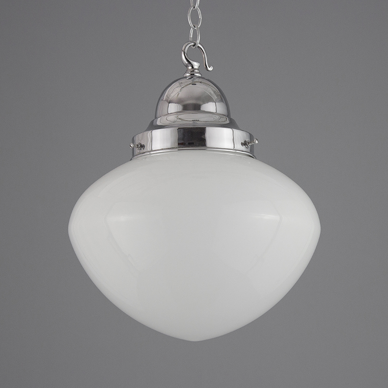 Decorative opaline pendant light with chrome gallery