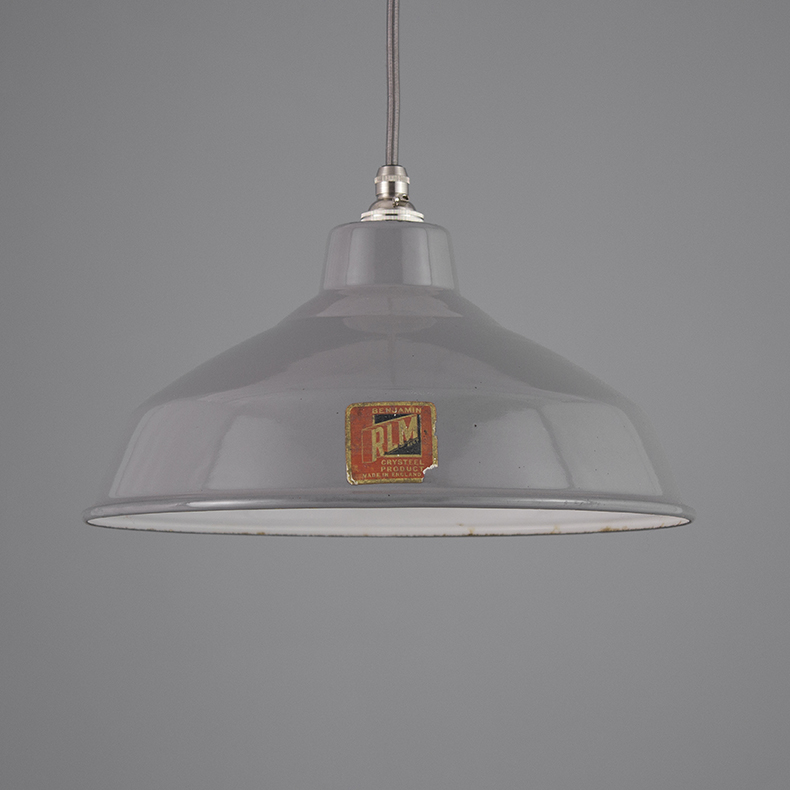 Grey enamel pendant lights by Benjamin