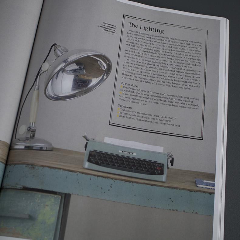 Reclaim magazine featuring skinflints vintage French desk light