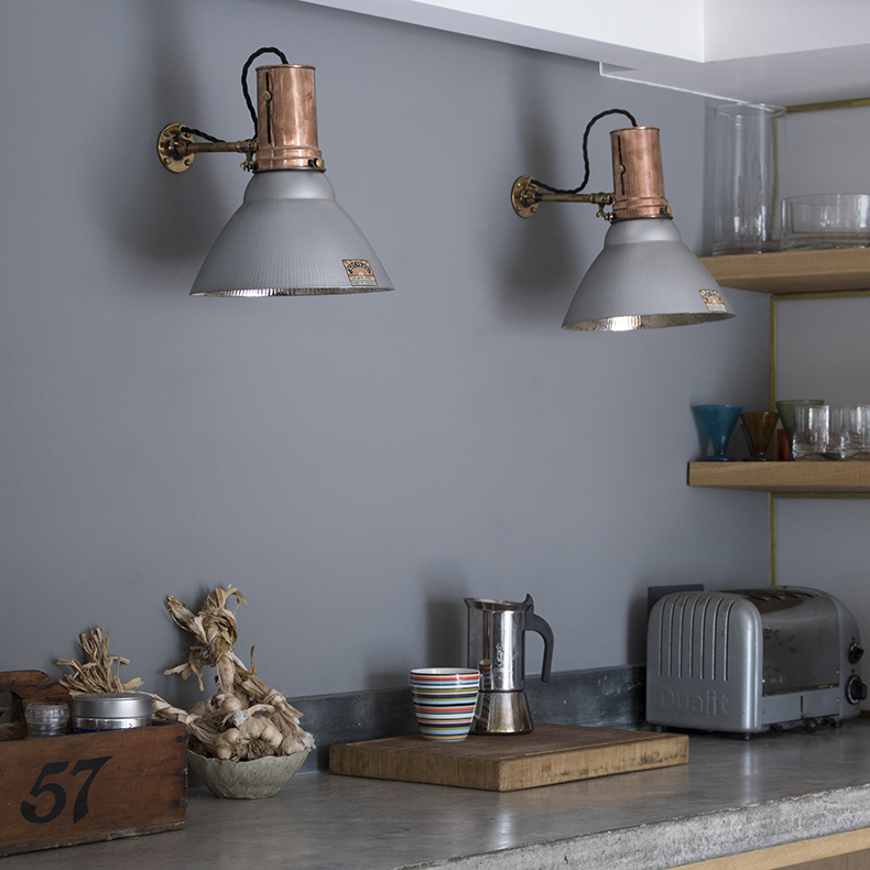 skinflint copper 1920s Gecoray wall lights