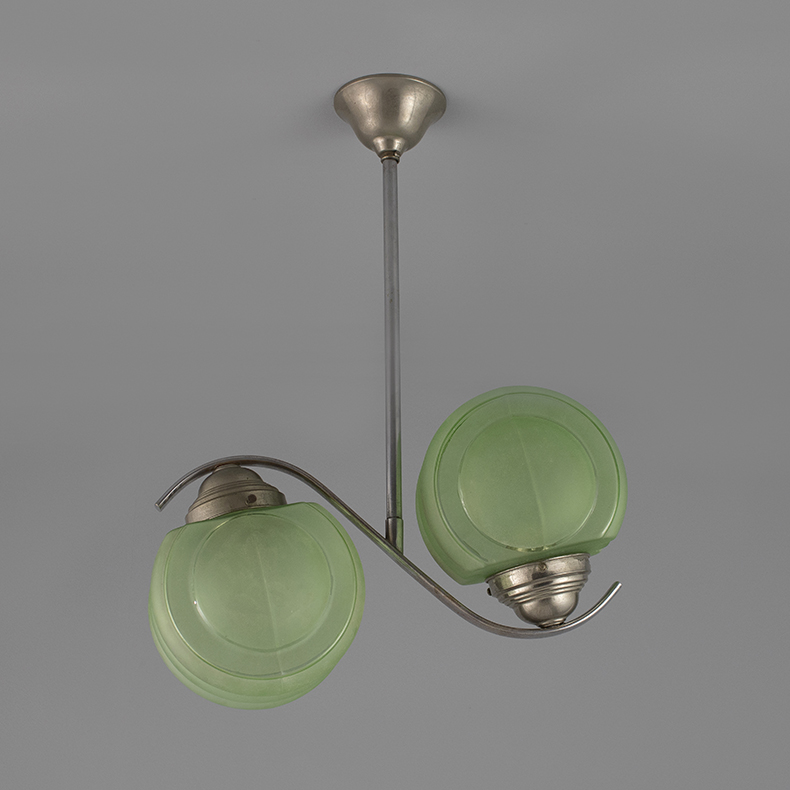 Art Deco pendant chandelier with green glass