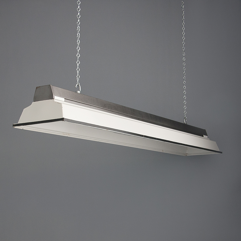 Linear white enamel pottery lights