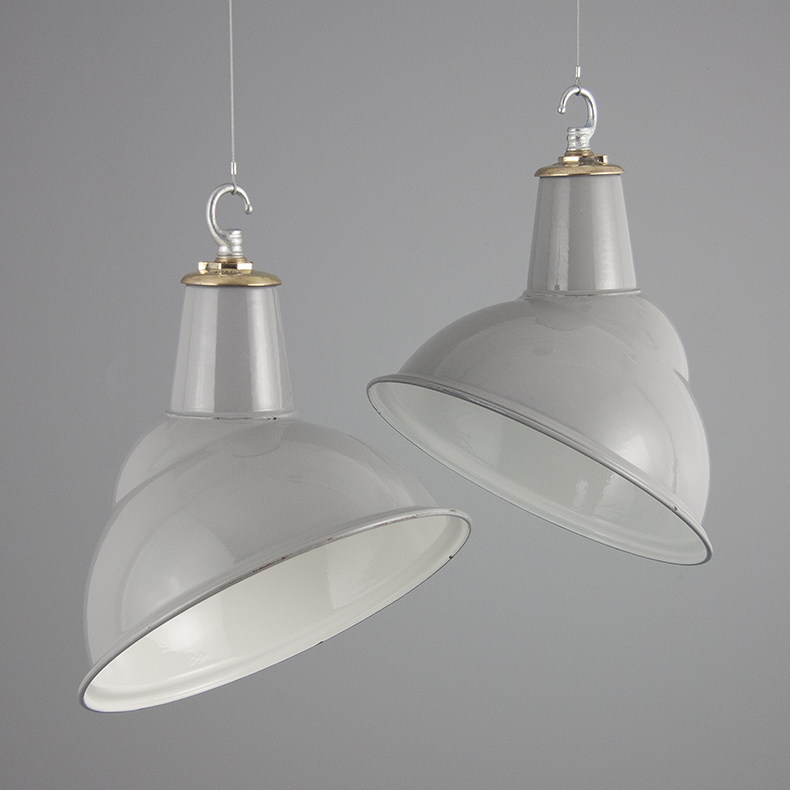 Vintage grey substation pendant lights by Benjamin