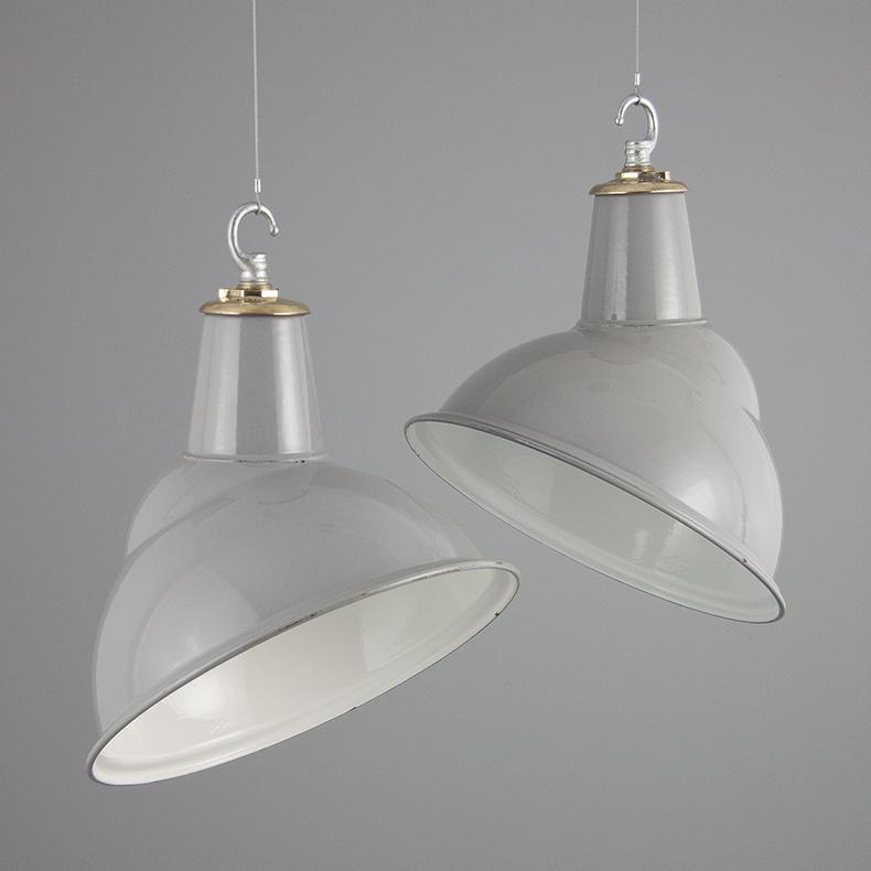 Vintage grey substation pendant lights by Benjamin