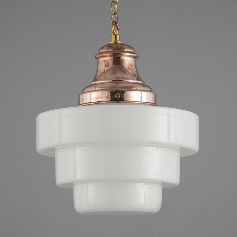 Vintage copper and opaline glass decorative pendant light
