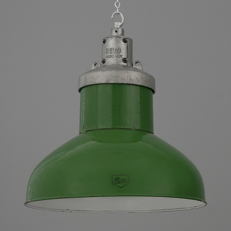 Large green enamel industrial pendant light by REVO