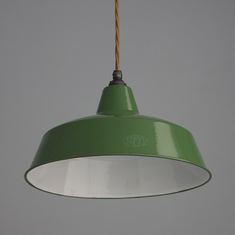 Green enamel industrial pendant light by GEC