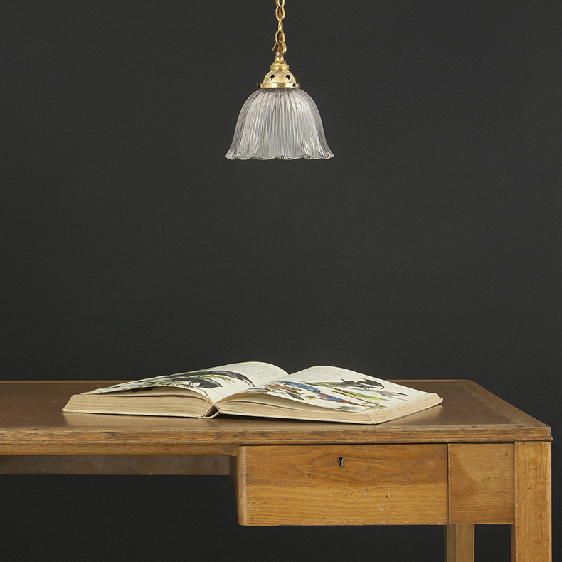 Glass and brass decorative pendant light by Holophane