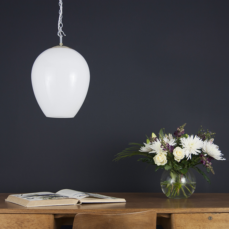 Opaline glass tulip pendant light