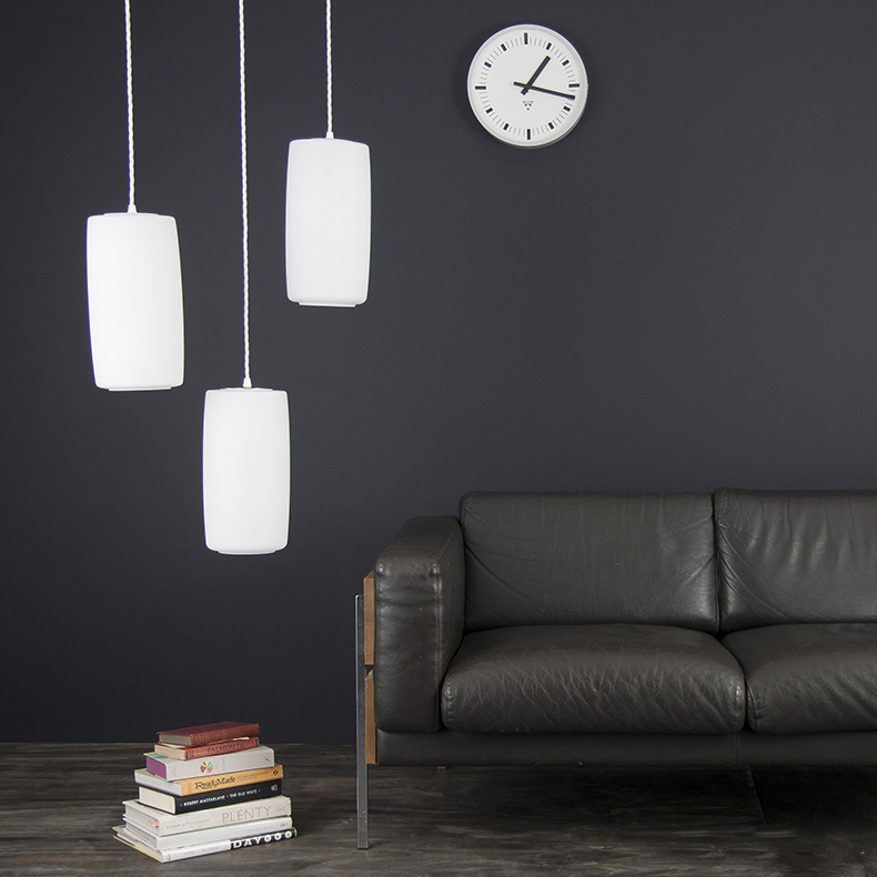 3 opaline suspended pendant lights