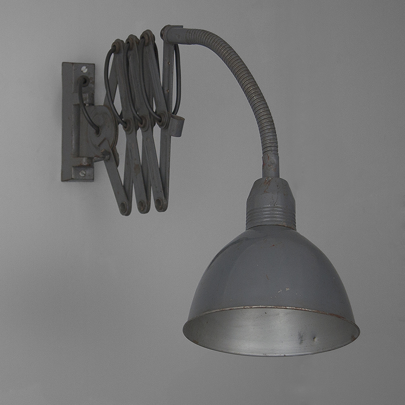 Vintage Industrial machinist wall lights in grey