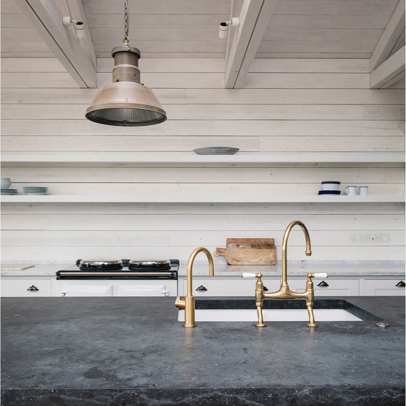 Plain English kitchen with Holophane pendant light