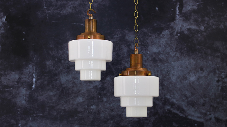 decorative 1930s opaline Czech pendant lights