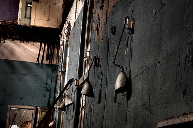Wall lights in Victorian lunatic asylum in the Midlands