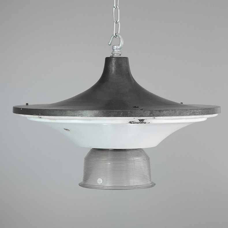 Art deco pendant light with prismatic glass