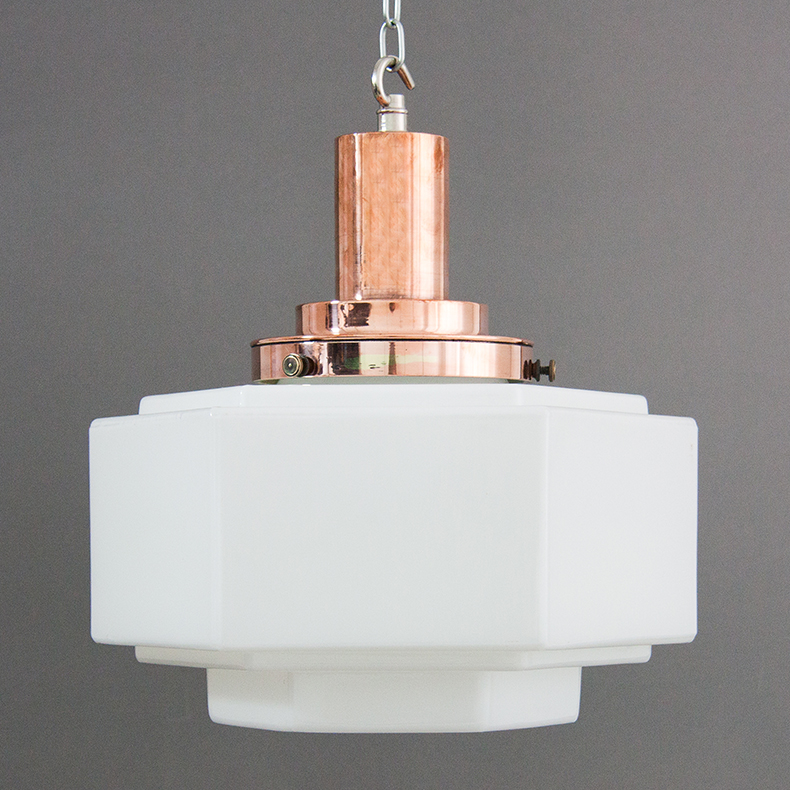 Copper and opaline glass art deco pendant light