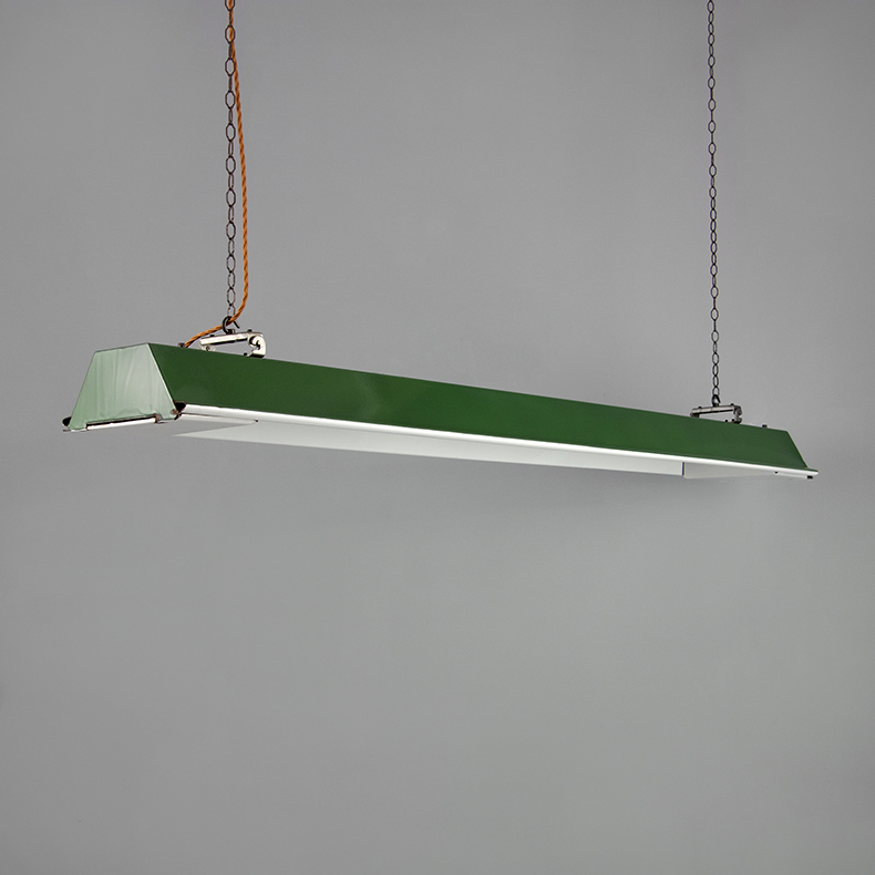 Green enamel linear pendant light by REVO