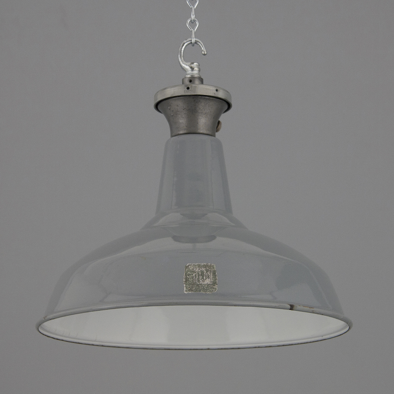 Grey enamel factory pendant lights by Benjamin