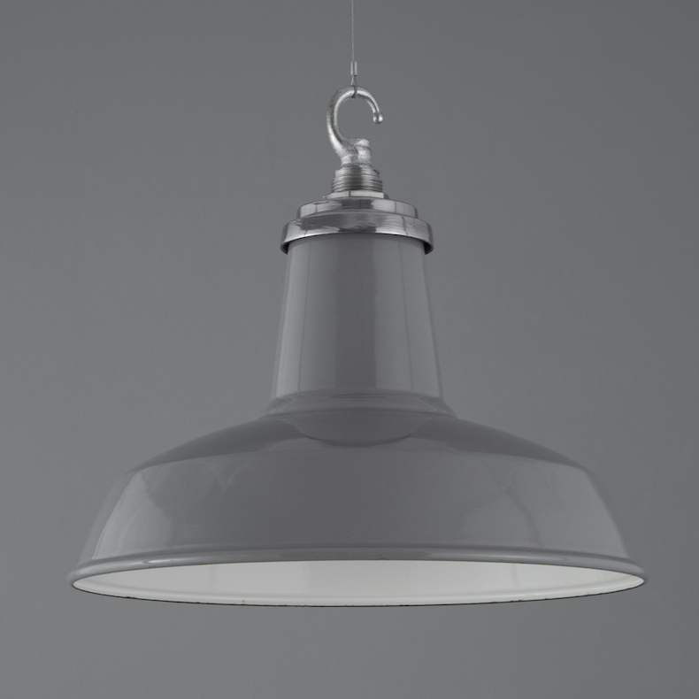 Grey enamel industrial pendant lights by Cryselco