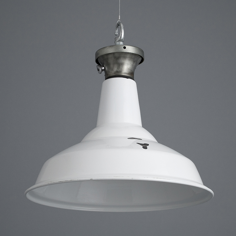 White enamel benjamin pendant light
