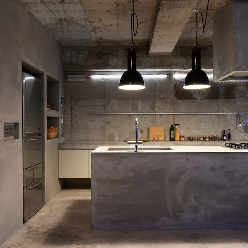 skinflint black enamel pendants concrete apartment
