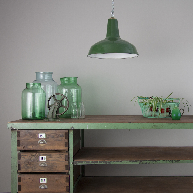 Green enamel pendant lights