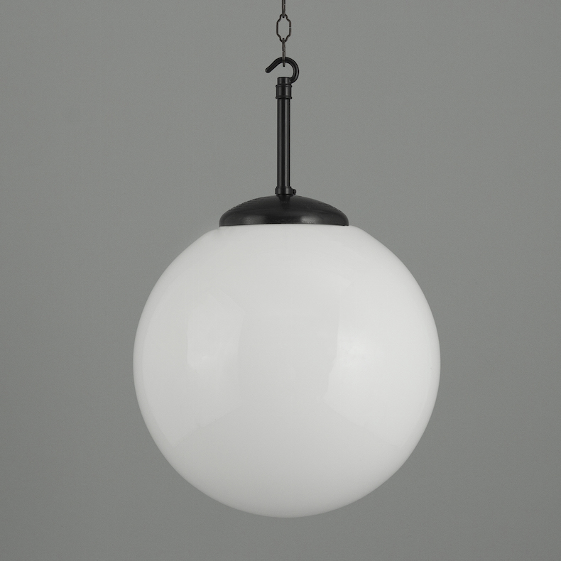 Opaline glass pendant lights with black backlight galleries