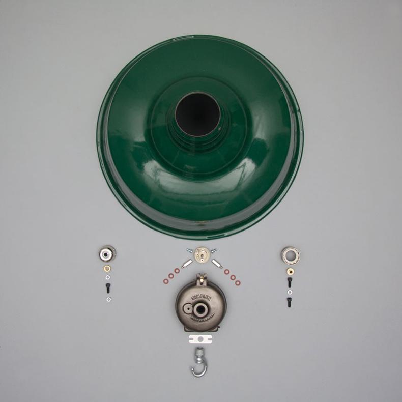Green enamel pendant light by Simplex
