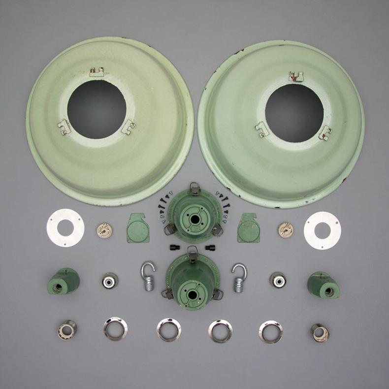 Soviet green enamel pendant lights