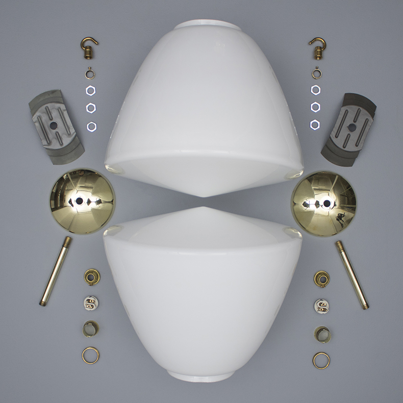 Opaline and brass Czech pendant lights