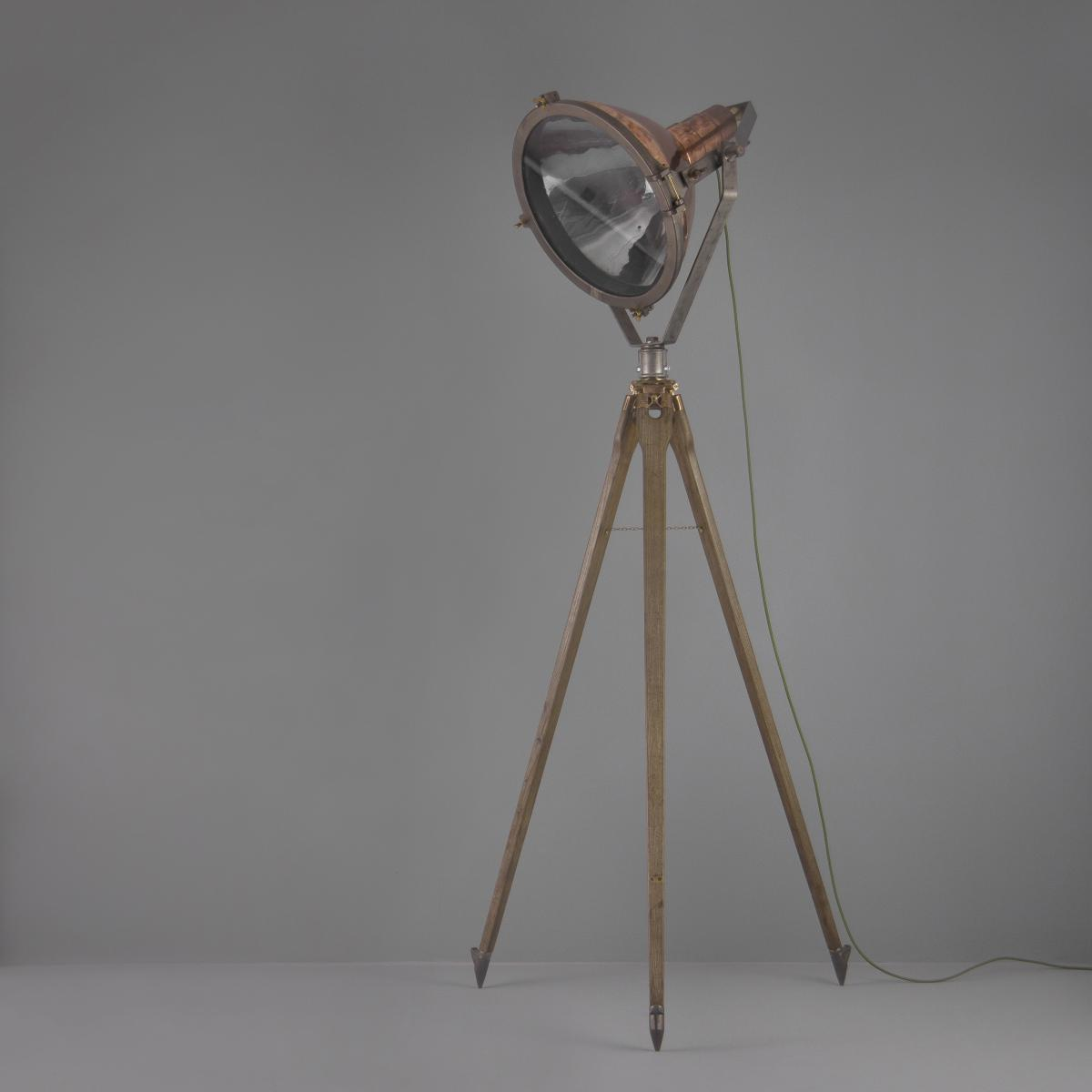 Vintage copper searchlight floor lamp