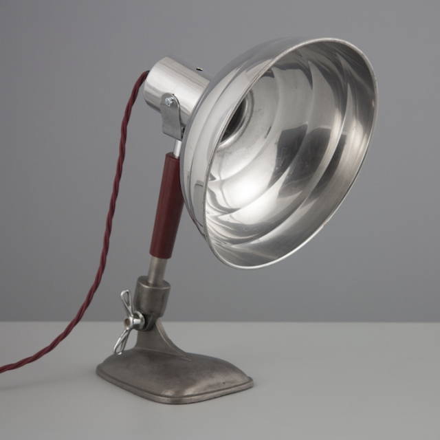 Retro aluminum table light with burgundy red cable