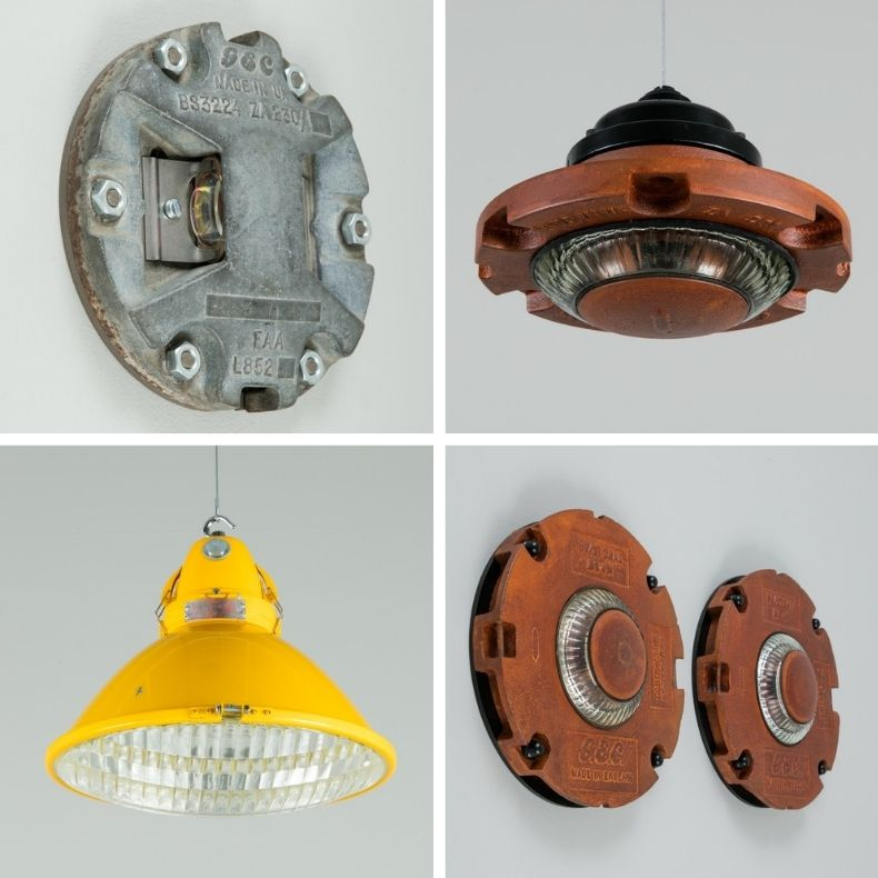 Vintage lights salvaged from RAF Scampton