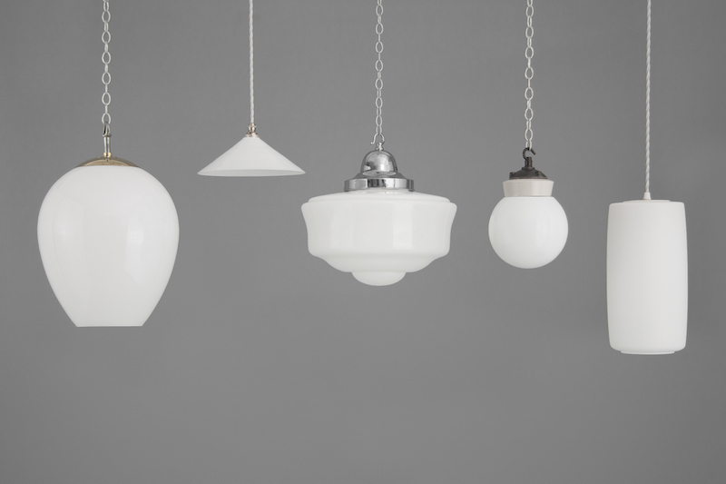 Group of white Vintage ceiling lights