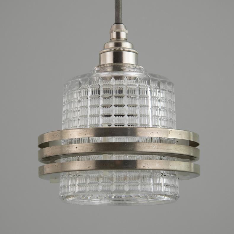 skinflint retro glass Czech pendant light