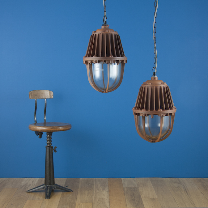 Industrial flame proof oxide pendants by REVO and wardle