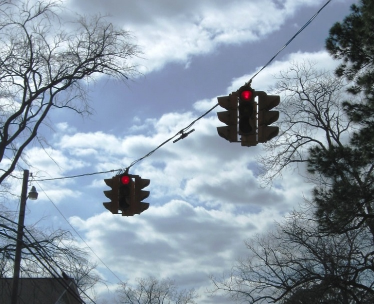 suspended USA traffic lights